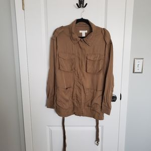H&M Utility Belted Button Up Shacket Jacket